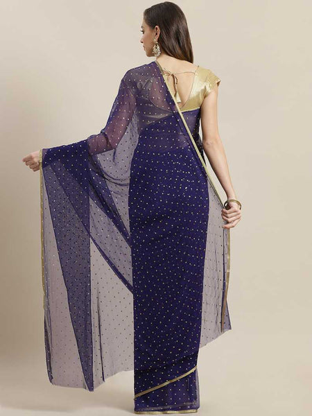 Ishin Poly Chiffon Navy Blue Foil Printed Women's Saree