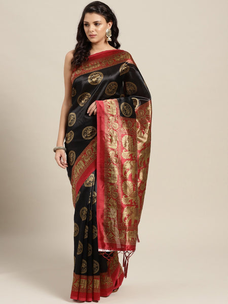 Ishin Art Silk Black Ethnic Motifs Printed Women's Saree Including Blouse Piece