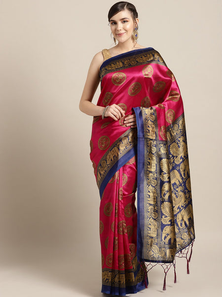 Ishin Art Silk Pink & Blue Ethnic Motifs Printed Women's Saree