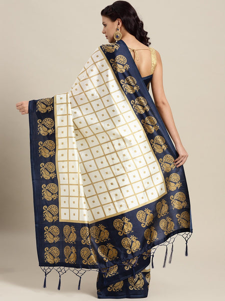 Ishin Poly Silk White Printed Women's Saree With Tassels