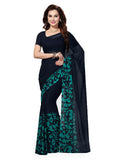 Ishin Poly Georgette Dark Blue Printed Women's Saree/Sari