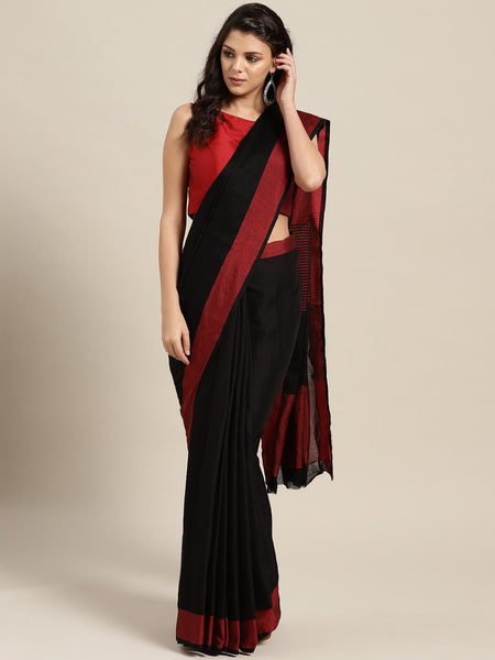 Ishin Poly Cotton Black Woven Women's Saree