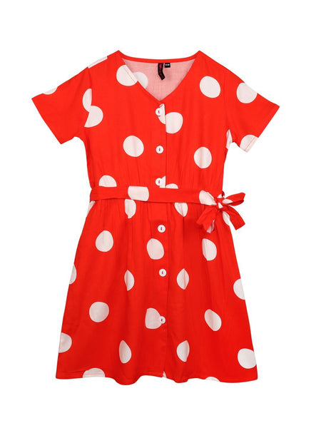 Ishin Girls Cotton Blend Red Printed Flared Dress