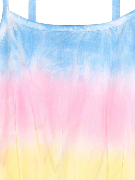 Ishin Girls Cotton Blend Multicolor Tie & Dye Flared Dress