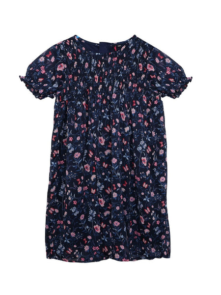 Ishin Girls Polyester Navy Blue Smoked Printed Flared Dress