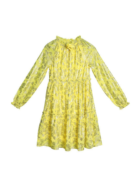 Ishin Girls Polyester Yellow Foil Printed Flared Dress