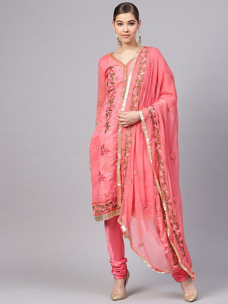 Ishin Women's Chanderi Silk Pink Embroidered A-Line Kurta With Churidar & Dupatta