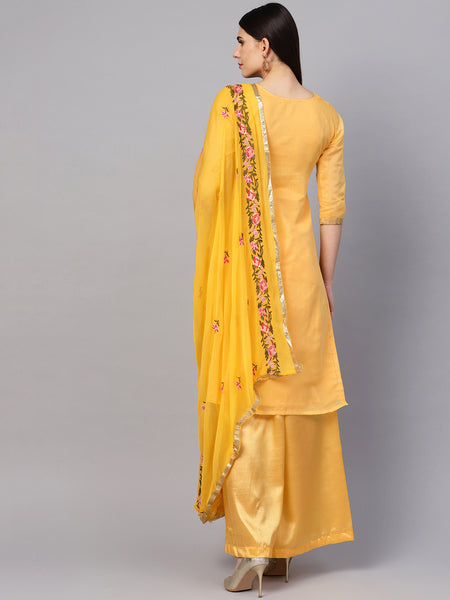 Ishin Women's Chanderi Silk Yellow Embroidered A-Line Kurta With Palazzo & Dupatta