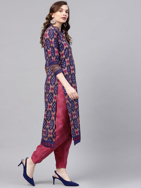 Ishin Women's Cotton Purple & Pink Printed A-Line Kurta With Trouser & Dupatta Set