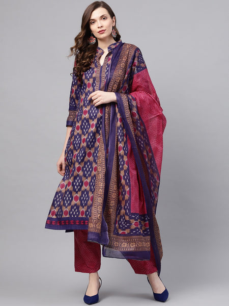 Ishin Women's Cotton Purple & Pink Printed A-Line Kurta With Trouser & Dupatta