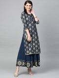Ishin Women's Cotton Navy Blue Foil Printed A-Line Kurta Palazzo Set