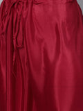 Ishin Women's Net Burgundy Embroidered A-Line Kurta Palazzo Dupatta Set