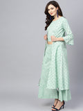 Ishin Women's Cotton Sea Green Printed A-Line Kurta Palazzo Set With Jacket