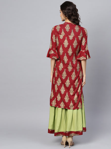 Ishin Women's Rayon Maroon & Green Embroidered A-Line Kurta Sharara Set