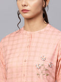 Ishin Women's Cotton Peach Embroidered A Line Kurta Sharara Set