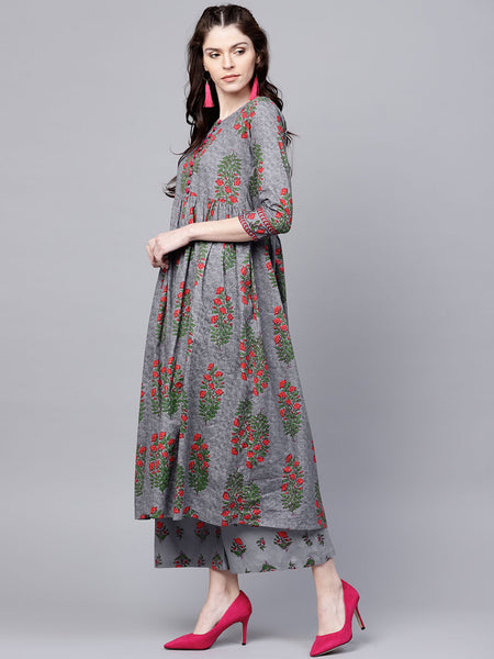 Ishin Women's Rayon Grey Printed Anarkali Kurta Palazzo Set