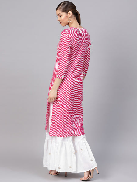 Ishin Women's Cotton Pink & White Printed With Gota Patti A-Line Kurta Sharara Set