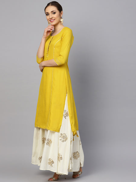 Ishin Women's Rayon Yellow & Off White Solid A-Line Kurta With Embellished Skirt