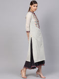 Ishin Women's Cotton White & Grey Embroidered Anarkali Dress