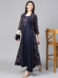 Ishin Women's Rayon Navy Blue Embroidered Anarkali Kurta Palazzo Set With Jacket