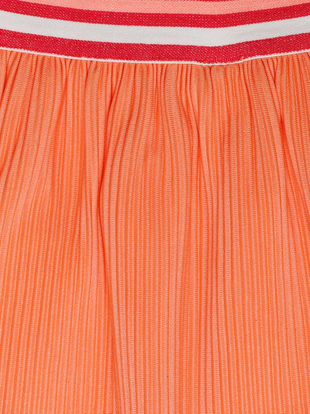 Ishin Girls Polyester Orange Solid Flared Skirt
