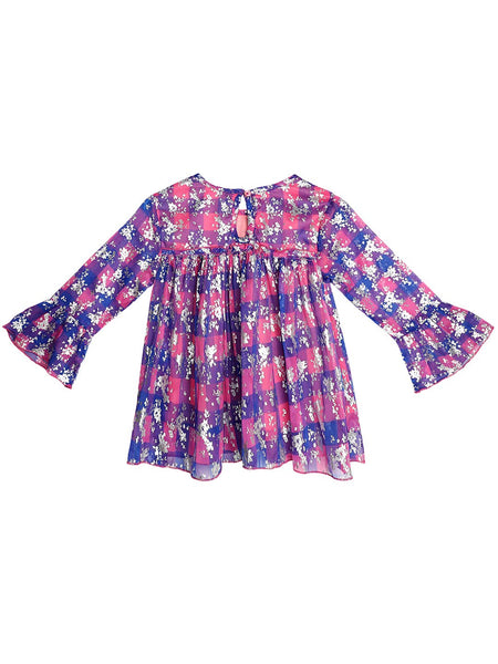 Ishin Girls Polyester Blue & Pink Foil Printed Top