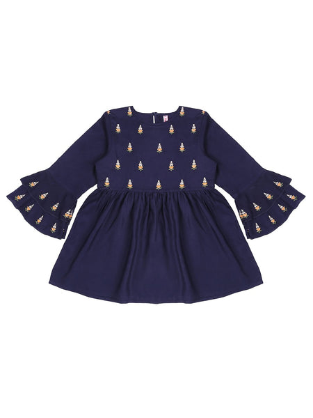 Ishin Girls Viscose Rayon Navy Blue Embroidered Top