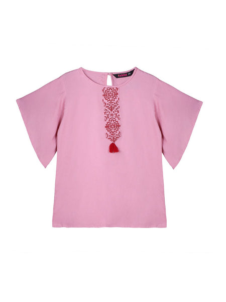 Ishin Girls Viscose Rayon Pink Embroidered Top