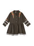 Ishin Girls Viscose Rayon Brown Embroidered Top