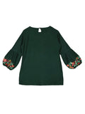 Ishin Girls Viscose Rayon Green Embroidered Top