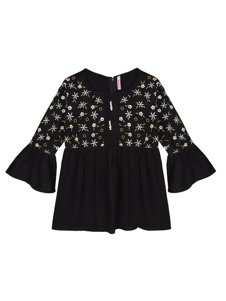 Ishin Girls Viscose Rayon Black Embroidered Top