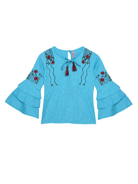 Ishin Girls Polyester Blue Embroidered Top