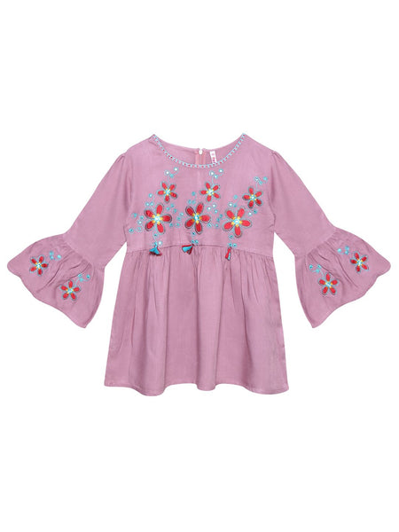 Ishin Girls Viscose Rayon Purple Embroidered Top
