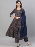 Ishin Women's Cotton Navy Blue Gota Patti Embroidered Anarkali Kurta Trouser Dupatta Set