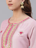 Ishin Women's Silk Pink Embroidered A-Line Kurta Trouser Dupatta Set