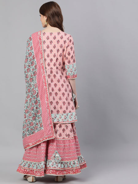 Ishin Women's Cotton Pink Embroidered Peplum Kurta Sharara Dupatta Set