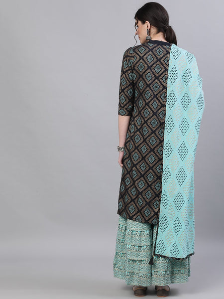 Ishin Women's Cotton Black & Blue Embroidered Straight Kurta Sharara Dupatta Set