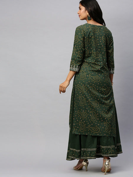 Ishin Women's Cotton Green Bandhani Print Embellished Straight Kurta Sharara Set
