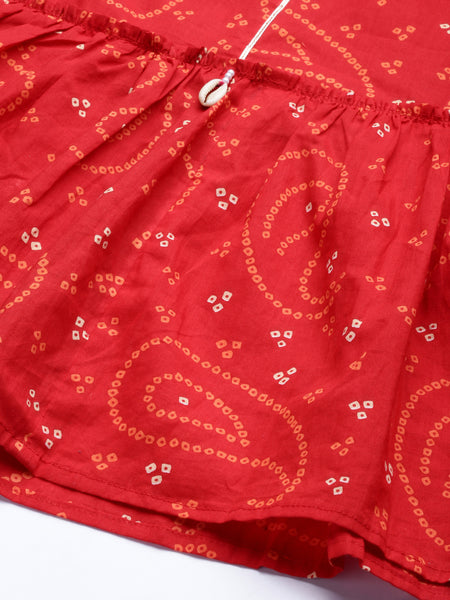 Ishin Women's Cotton Red Bandhani Print Embellished Crop Top With Skirt