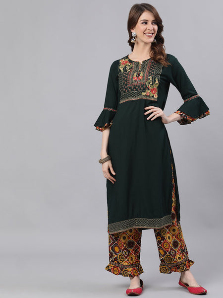Ishin Women's Rayon Green & Mustard Zari Embroidered A-Line Kurta Trouser Set