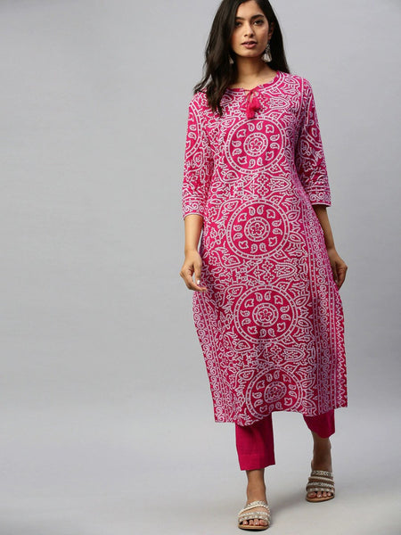 Ishin Women's Cotton Pink Printed Straight Kurta Trouser Set
