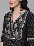 Ishin Women's Cotton Black Embellished Anarkali Kurta