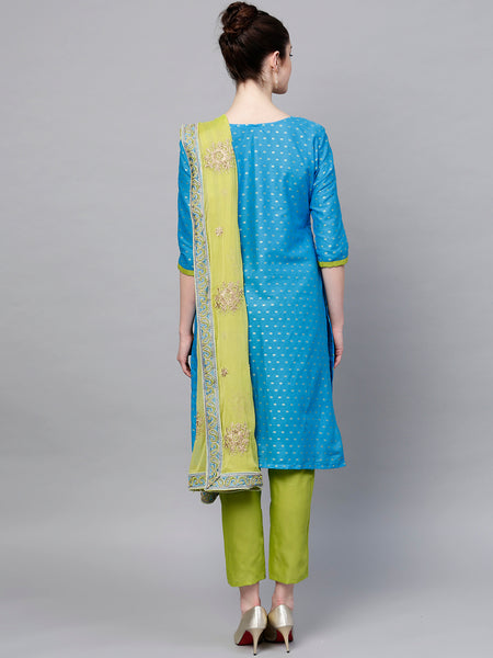 Ishin Women's Cotton Blue & Green Embroidered A-Line Kurta With Trouser & Dupatta