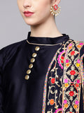 Ishin Women's Poly Cotton Navy Blue Embroidered A-Line Kurta With Palazzo & Dupatta
