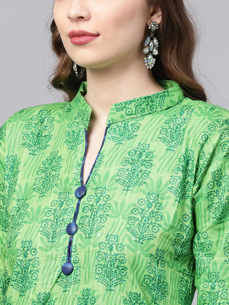 Ishin Women's Cotton Green & Blue Printed A-Line Kurta With Trouser & Dupatta