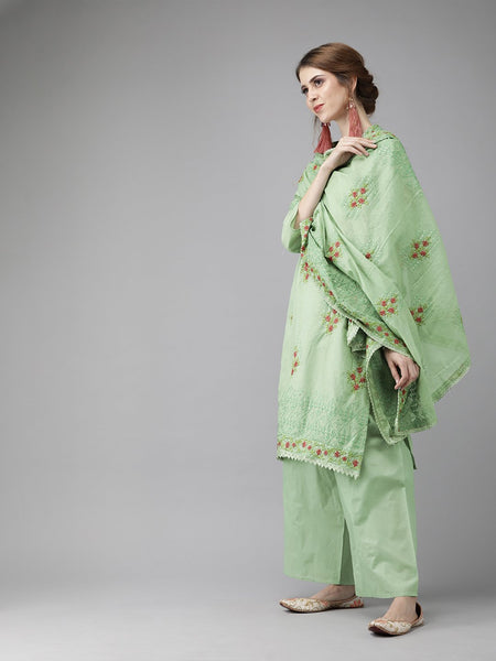 Ishin Women's Cotton Green Sequinned Embroidered A-Line Kurta Palazzo Dupatta Set