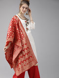 Ishin Women's Chanderi Cotton White & Red Embellished A-Line Kurta Palazzo Dupatta Set