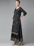 Ishin Women's Sequins Navy Blue Embellished A-Line Kurta Sharara Dupatta Set
