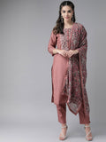 Ishin Women's Silk Blend Mauve Embroidered A-Line Kurta Trouser Dupatta Set