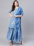 Ishin Women's Cotton Blue Embroidered A-Line Kurta Sharara Dupatta Set